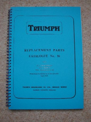 6) Triumph 6T, TR6, T120 Pre Unit Parts Manual 1960 - TP16